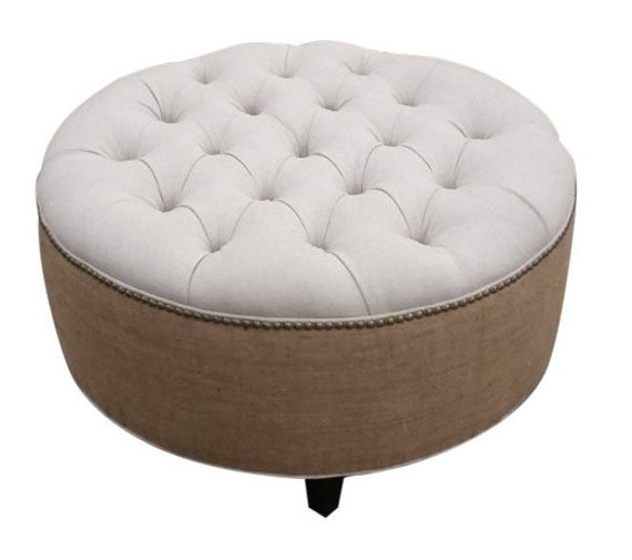 30 Upholstered Tufted Linen And Burlap Round Ottoman