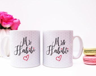 Mr Habibi & Mrs Habibiti Mugs Islamic Wedding Gift Set