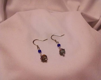 Silver Chinese Eye Glass Earrings
