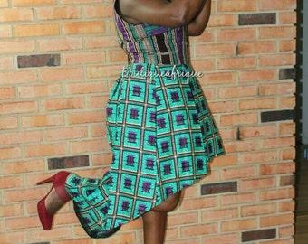 Asymmetrical High Neck African print Dress, Mixed Print Maxi Dress Wedding Dress,