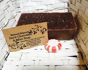 Dark Chocolate & Mint Soap, Natural Antioxidants, Hydrating, Antifungal, All-natural, Homemade, Cold process soap