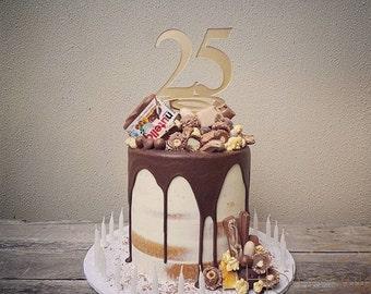 25th Anniversary Cake Topper Gift Decoration Birthday Idea