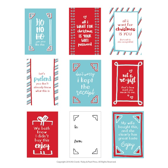 Jolly Honest Gift Tags Set of 8 Funny Christmas Gift Tags
