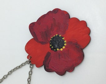 Huge handpainted red poppy wooden necklace .. limited edition . one off piece . Each one is different