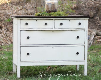 Shabby Chic Dresser with Wood Top