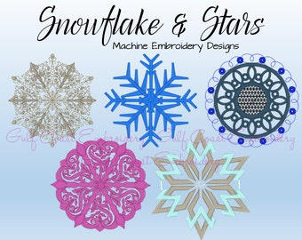 Snowflake and Stars Machine Embroidery Design, Winter Embroidery Collection, Instant Download Designs, PES Embroidery Design - GC311