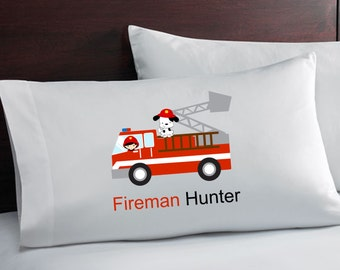 Personalized Boys Firetruck Pillowcase Fireman PillowCase Pillow Case