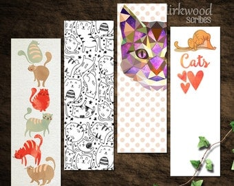 Silly Cat Bookmarks    Set of 4 Printable Cat Bookmarks    Instant Download Funny Kitty Bookmarks