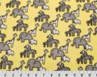 Minky Fabric by the Yard - LIttle Safari Cuddle Maze - Banana Yellow Safari Animals - Giraffes - Elephants - HIgh quality MInky