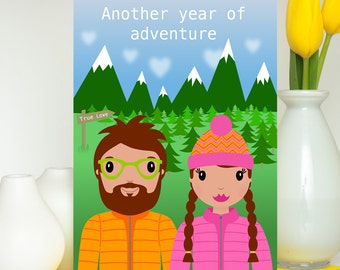 Adventure Card, Mountain Card, Rock Climbing, Mountain Climbing, Mountain Climber, Mountaineering, Adventurers, Climbers, Anniversary Card