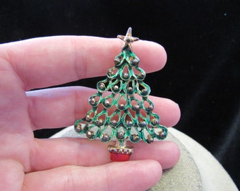 Vintage Large Red & Green Enameled Christmas Tree Pin