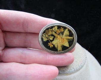 Vintage Silvertone Floral Pin
