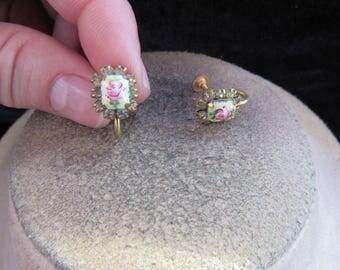 Vintage Pair Of Glass Rose Rhinestone Screw Back Earrings