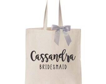 Canvas Tote Bag ; Name ; Wedding Bridal Party Bridesmaid ; Personalized Custom