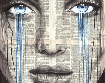 """Woman Portrait 4, 16x20"""" Original Ink/Watercolor Painting on Book Pages"""