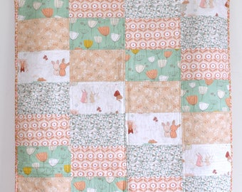 peach bunnies quilt, dandelions,  baby girl, littlest, mustard, quilt, minky, nursery, modern quilt