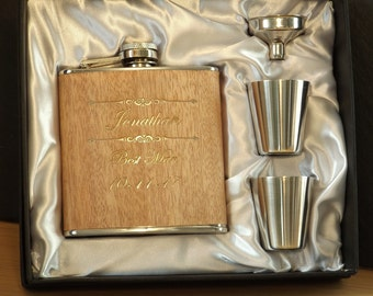 Personalised Engraved 6oz Wooden Hip Flask, Funnel & Cups Set ~ Ideal Wedding Gift Favour for Best Man ~ Usher ~ Dad Father of Bride / Groom