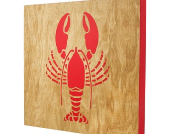 Lobster Wall Art - 12x12 | Red Lobster Art | Lobster Decor | Laser Engraved | Coastal Decor | Maine Lobster | Lobster Claws | Maine Made