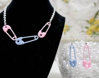 Pastel Pink and/or Blue Safety Pin Necklace with Earrings – so kawaii decora fairy kei Lolita j-fashion