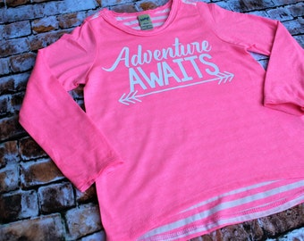 Girls Long Sleeve Shirt, Adventure Awaits, pink long sleeve shirt, girls trendy shirt, christmas gift, girls clothes