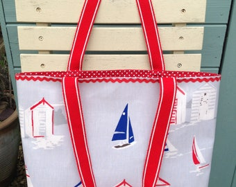 Travel gift, travel bag, tote bag, oilcloth tote bag, tote, handmade bag, bags,beach hut, beach hut gift, seaside oilcloth bag
