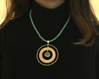 Necklace, Turquoise necklace, Gold Filled Necklace, Round necklace, gift for her, Valentine's day gift