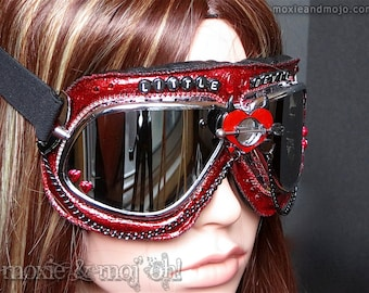 "Custom Festival Burning Man Goggles: ""Little Devil"" ~ perfect for the Playa!"