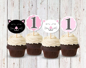 Cat Cupcake Picks, Kitty Food Picks, Kitty Cat Cake Toppers, Cat Birthday Party, Cat First Birthday, Cupcake Picks, Pink and Black Cat Party