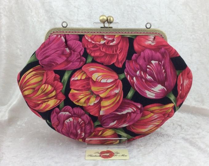 Pink Tulips Grace frame handbag purse fabric bag purse clutch handmade in England