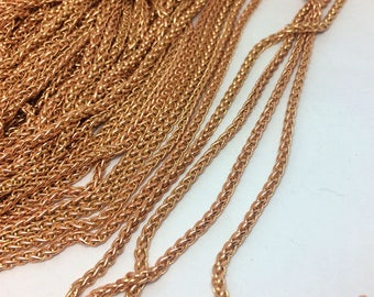 5/10Yards Small 2.1mm Wide Raw Brass Wheat Braided Chain,  Foxtail Chain Findings Jewelry Making