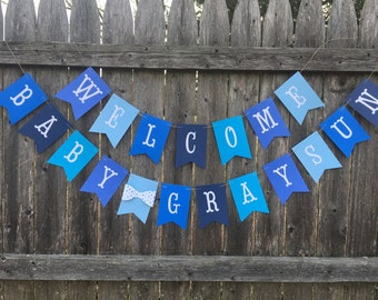 baby shower banner. Boy baby shower. Blue baby shower. Welcome baby banner.