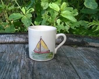Rare Vintage Sandland Ware Cute Espresso Coffee Cup Hand-Painted Yacht Scene. Free UK Postage