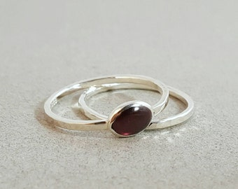 Silver Stacking Rings with Garnet - US 9.5