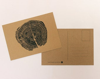 Map tree trunk, greeting card, postcard, post card