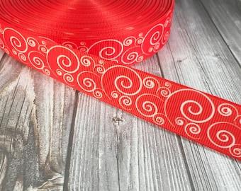 "7/8"" Christmas ribbon - Red white ribbon - Accent ribbon - Grosgrain ribbon - Swirl ribbon - Fancy ribbon - Wedding ribbon - Craft ribbon"