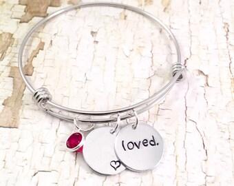Loved bangle bracelet, for mother bracelet, for daughter gift, best friend gift, adjustable bangle, stainless steel bracelet, hand stamped
