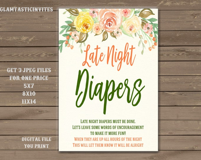 Late Night Diapers Sign, Floral Baby Shower Sign, Baby Shower Sign, Floral Shower Decor, Floral Late Night Diapers Sign, Digital Sign,Floral