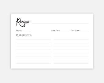 Downloadable Recipe Card, Recipe Cards, Printable Recipe Cards, Kitchen Recipe Cards, Instant Download, Simple Recipe Card, 4x6 Recipe Card