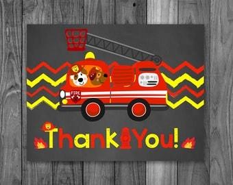 Fire Truck Thank You Card Chalkboard - Firetruck Thanks Birthday - Fireman Thank You Card - Firefighter Thanks - Instant Download