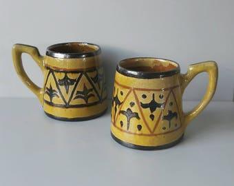 Scandinavian Hand Painted Ceramic Oker Mugs '60