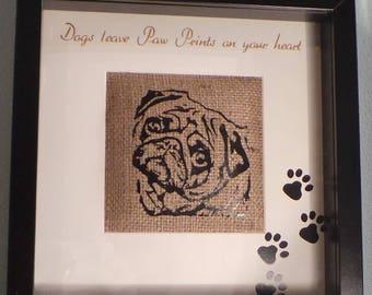 Pet Portrait. Pet tribute. Pet cushioned Burlap print in box frame