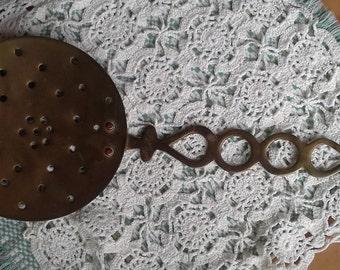 Antique, Brass Flat Chestnut Roaster, English