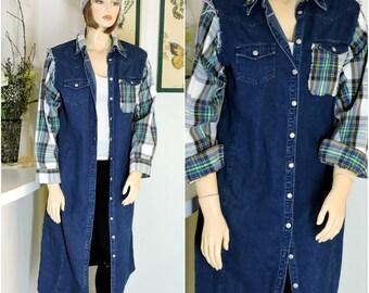 Upcycled denim duster coat size L XL long jean coat denim maxi dress boho grunge denim / flannel duster   SunnyBohoVintage