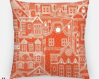 "16"" x 16"" / 20"" x 20"" Pillow Case UT Longhorn Orange Cream Town Houses Folksy  Hand Drawn Decorative Throw Pillow Decor Cushion Cover - 58PC"