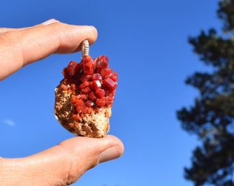 Large Vanadinite Pendant wrapped in Silver wire ~