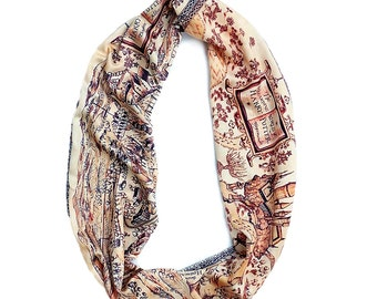 Hogwarts Harry Potter Maps Scarf - Classic Brown Cream
