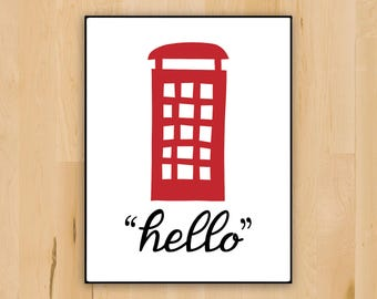 Vintage Telephone Booth Wall Decor | Printable Cute London Phone Booth Illustration | Wall Decoration