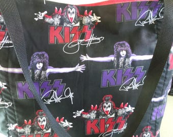 Kiss The Rock Band, Paul Stanley, Gene Simmons, Peter Criss, and Ace Frehley, Reusable Farmers Market / Grocery / Shopping Bag / Tote