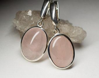 Rose Quartz Silver Earrings art 5081   Natural Organic Roze Quartz Gemstone Earrings Fine Jewelry
