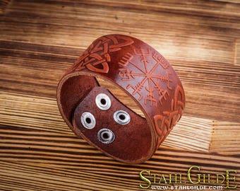 Leather Bracelet Cuff Wristband  Vegvisir Futhark Runes Vikings Compass Magic Stave Viking